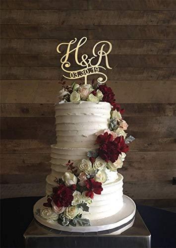 KISKISTONITE H & R Initial Custom Cake Topper, Cake Topper For Wedding, Personalized Cake Topper, Initial Letters Cake Topper, Wedding Cake Topper, Wood Cake Topper H, Cake Decorating