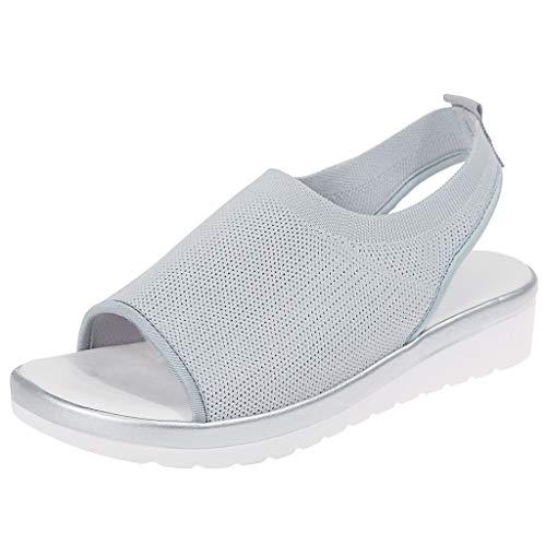 YWLINK Zapatos Mujer CuñA Moda TamañO Grande Transpirable con Malla Tejida Volando Zapatos Casuales Sandalias Fiesta En La Playa Antideslizante CóModo Baratos Regalo del DíA De Miembro(Gris,35EU)