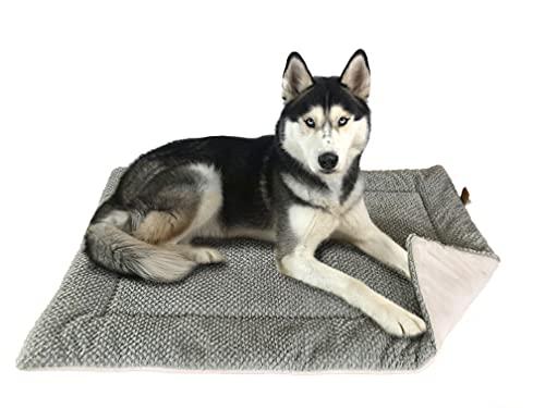 FLUFFINO® Hundedecke- Flauschig, Weich u. Waschbar (Größe L, 104 x 68 cm, grau)- erhöhte Rutschfestigkeit durch Gumminoppen- Für große u. kleine Hunde o. Katzen- Hundematten/Hundekissen, Katzendecke