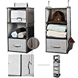 Ropesmart 6-Shelf Closet Hanging Organizer and Storage with 2 Drawers,Two 3-Shelf Separable Closet Hanging Shelves,Hanging Storage Organizer for Clothes,49.6' H×12' W×12''D