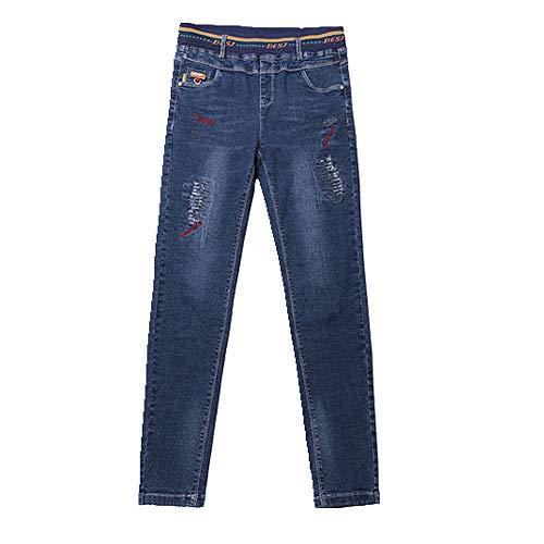 U/A Primavera y Otoño de Cintura Alta Pantalones de las Mujeres de Cintura Elástica Jeans