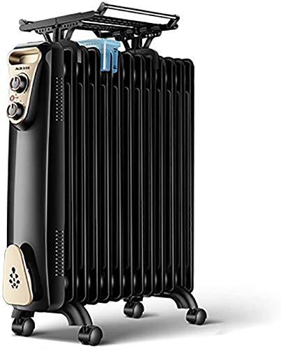Kücheks Calentador de radiador Lleno de Aceite, Calentador eléctrico portátil con termostato de Temperatura Ajustable, 3 configuraciones de Calor y Corte de Seguridad - Negro