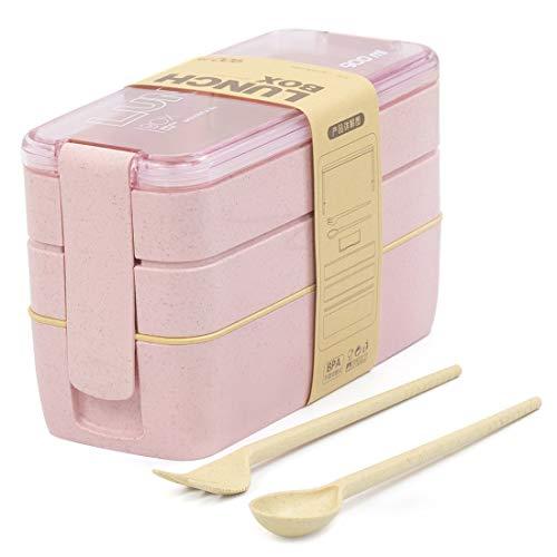 Lunchbox Brotdose Bento Box Vesperdose für Kinder und Erwachsene Mit 3 Fächern Auslaufsicher Mikrowelle Gefertigt aus Weizen Biologisch Abbaubar Plastikfrei BPA Frei(rosa)