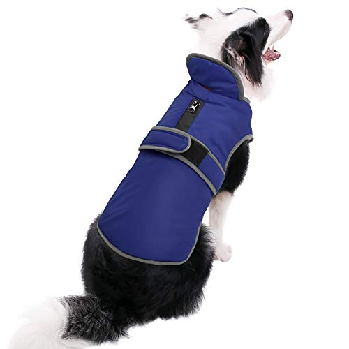 MIGOHI Reflective Waterproof Windproof Dog Coat Cold Weather Warm Dog Jacket Reversible Stormguard Winter Dog Vest for Small Medium Large Dogs (Navy, M)