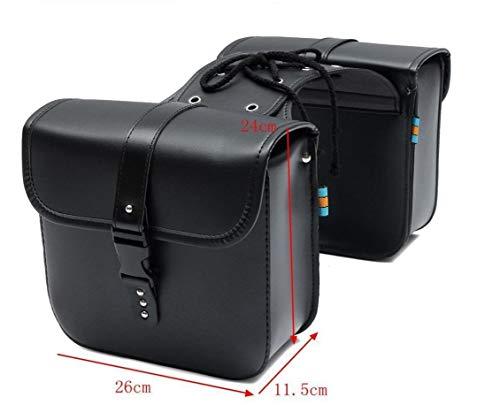 2er Set Motorrad Seitentasche PU Leder | Farbe - schwarz | 26cm x 11,5cm x 24 cm Chopper Satteltasche | Gepäcktasche - 2 Stück | Seitenkoffer | Toolkit | Satteltaschenpaar Motorradgepäck | Stauraum