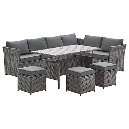 Rattan Garden Furniture Set Outdoor Dining Sofa & Stool Patio Lounge Table Set in Ash Brown with Grey Cushions
