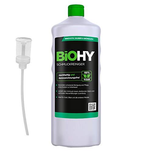 BiOHY Schmuckreiniger (1l Flasche) + Dosierer | AKTIVE GLANZFORMEL | Konzentrat für jedes Ultraschallgerät | Nachhaltige und schonende Reinigung für Uhren, Schmuck und Edelmetalle