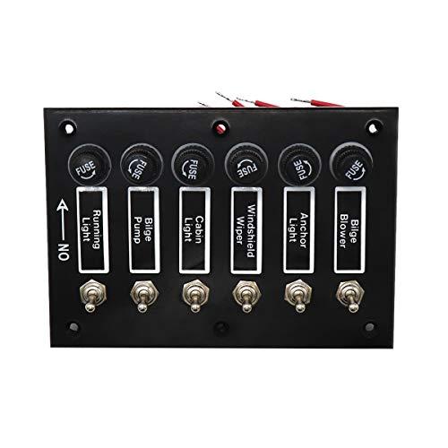 CUHAWUDBA 6 Gang 12V / 24V Panel de Interruptor de Palanca de Encendido/Apagado con Fusible para Marine Boat Caravan RV con 6 Tornillos Accesorios para AutomóVil