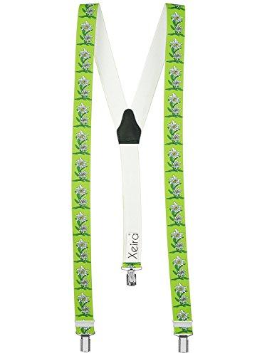 Xeira Hochwertige Hosenträger in Trendigen EDELWEIß Design - 3 Clips - Verfügbar in 20 Farben! (Normale Länge, Mint Grün)