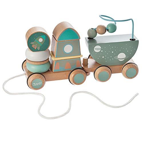 Howa Nachziehspielzeug und Stapelspielzeug Space aus Holz 6023