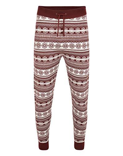 NOROZE Men's Christmas Pyjamas Jogger Bottoms Xmas Jumper Trousers Men Gifts (L, Fairisle Burgundy)