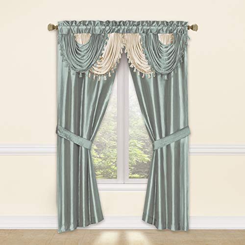 Regal Home Collections Amore 54 X 84 Inch Luxurious 5PC Attached Valance, Blue Window Curtain Set, 54 X 84