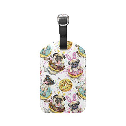 Moyyo Cute Watercolor Dog with Donut Luggage Tag Suitcase Tags Leather Travel Baggage Luggage Identify ID Tags Labels for Suitcases Luggage Tags with Privacy Cover