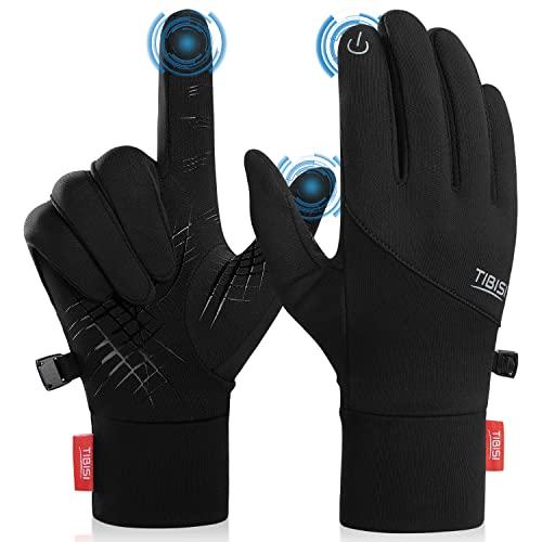 Unisex Winter Touchscreen warme Handschuhe, Rdiner Herren Damen Winterhandschuhe Fahrradhandschuhe Winddichte Handschuhe MTB Handschuhe Schwarz zum Radfahren Laufen Fahren Joggen Skifahren, ST02,XL