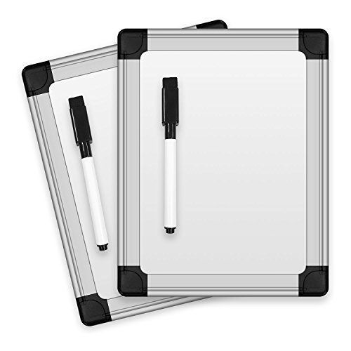 Thornton's Office Products 8.25 in x 6.5 in Locker Mini Lap Board Writing Message Classroom Dry Erase Whiteboard, Set of 2