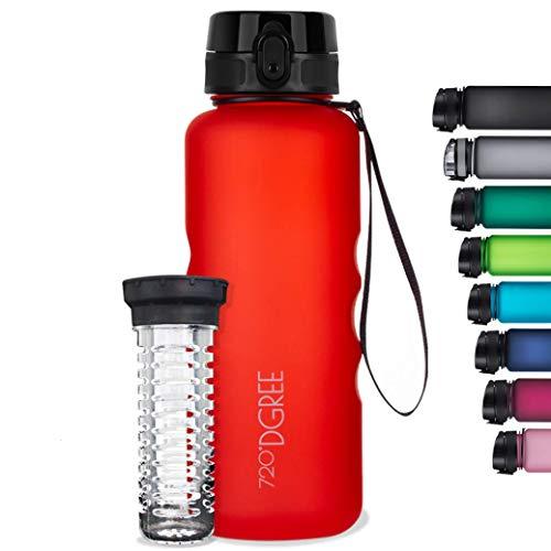 """720°DGREE butelka na wodę """"uberBottle"""" – 1,5 l, Soft Touch + infuzor do owoców, tritan bez BPA, szczelna, wielokrotnego użytku butelka na napoje, sportowa butelka na siłownię, do biegania, fitnessu, wędrówek, podróży, szkoły, biura"""