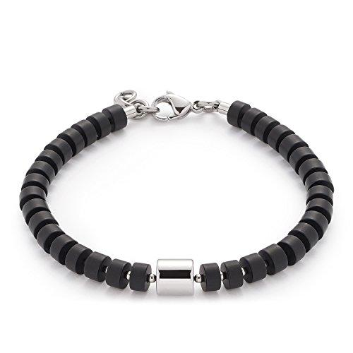 Leonardo Jewels Damen Herren Armband Men Como Edelstahl Glas schwarz 21 cm 016430