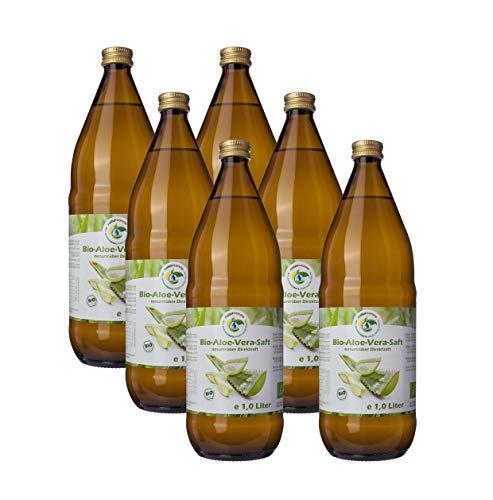 Bio Aloe Vera Saft 6 x 1l, naturtrüber Direktsaft, ohne Zuckerzusatz, vegan, kontrolliert biologischer Anbau, handfiletiert