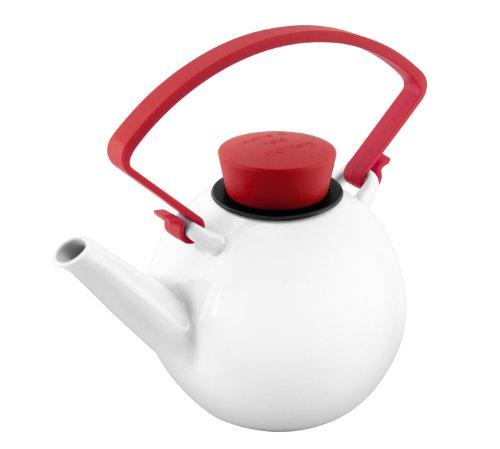 QDO théière ronde en porcelaine 1 litre, cadeau design original - théière porcelaine rouge - théière porcelaine rouge