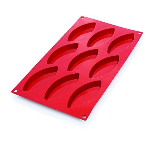 Schiffchen-Backform aus Silikon in rot - temperaturbeständig von -40 °C bis 280 °C, PREMIUM-QUALITÄT, spülmaschinentauglich, Abmessung außen: 30 x 17,5 cm / 9 Formen - Abm. Form: 10 x 4,4 x 1,5 cm / 12 Formen - Abm. Form: 7,2 x 3,0 x 1,5 cm (9 Formen)
