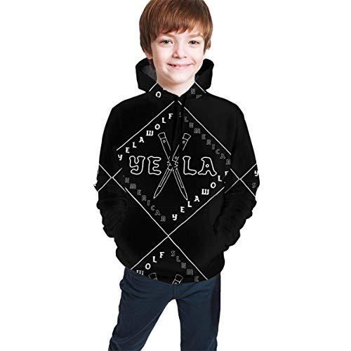 Hidend Sudaderas para Niña Niño,Sudadera con Capucha para Niños Yela-Wolf Fashion Teen Hooded Sweater Black