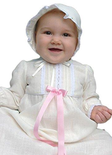Grace of Sweden - Costume de baptême - Bébé (garçon) 0 à 24 mois blanc cassé Pink bow 68/74, 6-11 months, chest 19,5 in.