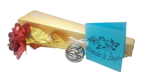 Set de Regalo Avisador de los Ángeles en Plata de ley, con bola de metal interior presentado en esfera de metacrilato, acompañado de Rosa roja y dorada