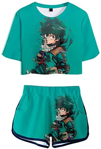 Silver Basic Mujeres My Hero Academia Camiseta y Pantalones Cortos Chándal Conjunto de Pijama Camiseta de Verano My Hero Academia Uniforme Toga Deku Cosplay XS,1402Deku-3