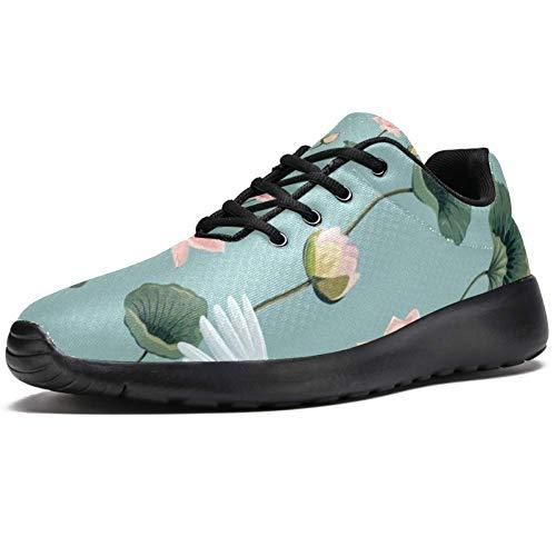 TIZORAX Sport-Laufschuhe für Herren, japanische Kraniche im Lotus-Teich, modische Sneaker, Netzstoff, atmungsaktiv, Wandern, Tennisschuh, Mehrfarbig - mehrfarbig - Größe: 47 EU
