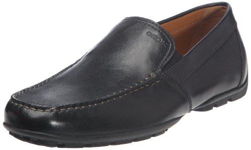 Geox Men's Monet Plain Vamp Slip-On Loafer,Black Leather,42 EU/9 M US