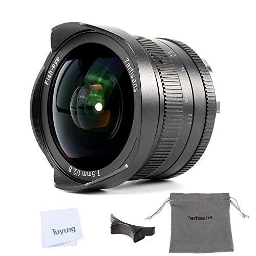 7artisans 7.5mm F2.8 II APS-C Fisheye-Objektiv mit 190° Blickwinkel, für Sony E-Mount Kameras NEX-5N NEX-7 NEX-3N NEX-5T a6000 a3500 a5100 a6300 a6500