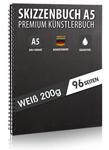 Skizzenbuch PREMIUM Qualität 200 g/m² mit schwarzer Spiralbindung A5 Hochformat – Blattgröße 14 x 19,7 cm, Reißfestes, nicht ausblutendes, säurefreies Papier Weiß, Sketchbook - aus DEUTSCHLAND