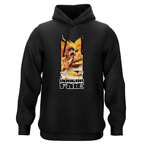 Okiwoki Sweat-Shirt à Capuche Noir Parodie Fairy Tail - Natsu - Dragon Fire !!! (Sweatshirt de qualité Premium de Taille M - imprimé en France)