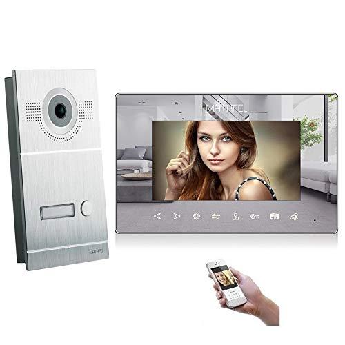 4 Draht Video Türsprechanlage Gegensprechanlage Fischaugenkamera 170 Grad, HD Auflösung WLAN, Monitore in spiegeloptik