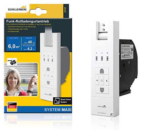Schellenberg 22767 Elektrischer Gurtwickler mit Funk RolloDrive 65 Premium, geeignet für Smart-Home, Funkgurtwickler bis 6 m² Rollladenfläche, 45 kg Zugkraft, Unterputz-Montage, inkl. Netzstecker