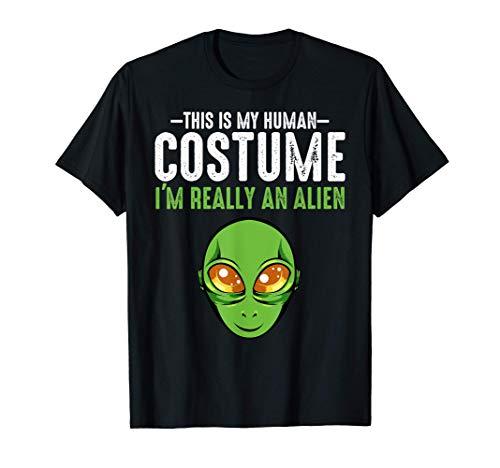 Este es mi disfraz humano Divertido Cosmos alienígena Camiseta