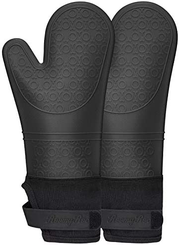 RoomyRoc Silicone Oven Mitts with Adjustable Cuff Oven Mitt with Non Slip Grip and Thicker Liner product image