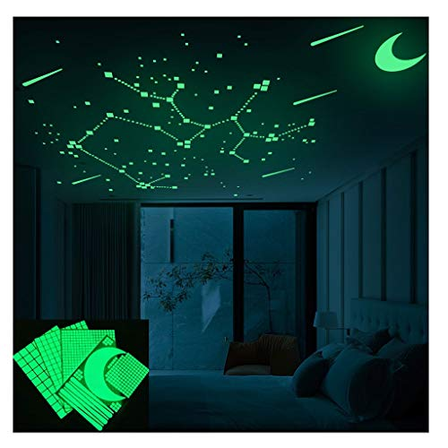 LiKin Luminoso Pegatinas de Pared,DIY Pegatina Pared Fluorescente Luminoso Estrellas y Luna para Dormitorio de Niños