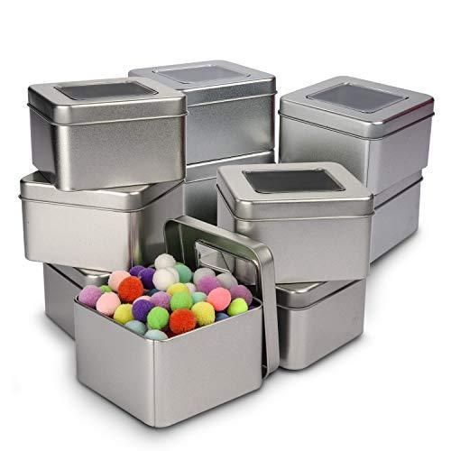 Caja de Metal con Tapa (Pack de 10) - Contenedor Metalico Multi Almacenamiento (9 x 9 x 5,5cm) Cajas de Metal sin Bisagra - Lata Vacía Tapa Transparente, Cosméticos, Especias, Hilo, Monedas y Más