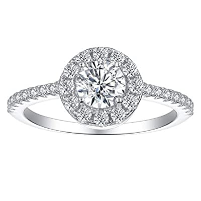 Rhodium Plated Sterling Silver 1/2 Carat Round Cut Cubic Zirconia Halo Engagement Ring | Women's Dainty Floating Halo CZ Promise Ring