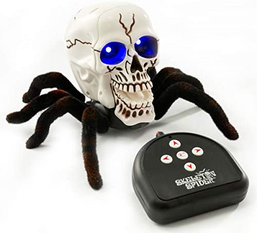 BEJOY Remote Control Spider Toy Halloween Horror RC Skull Spider with Glowing Blue Eyes for product image
