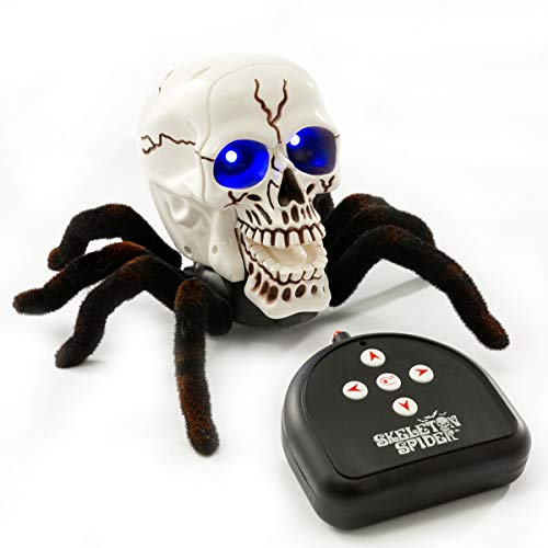BEJOY Remote Control Spider Toy Halloween Horror RC Skull Spider with Glowing Blue Eyes for Kids and Adults