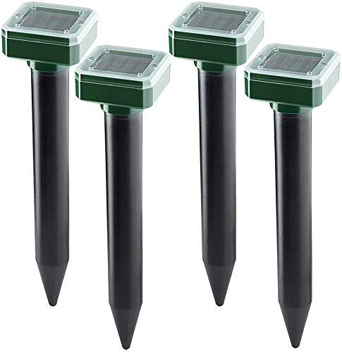 Mole Repellent 4 Pack Ultrasonic Solar Powered Animal Repellent for Outdoor