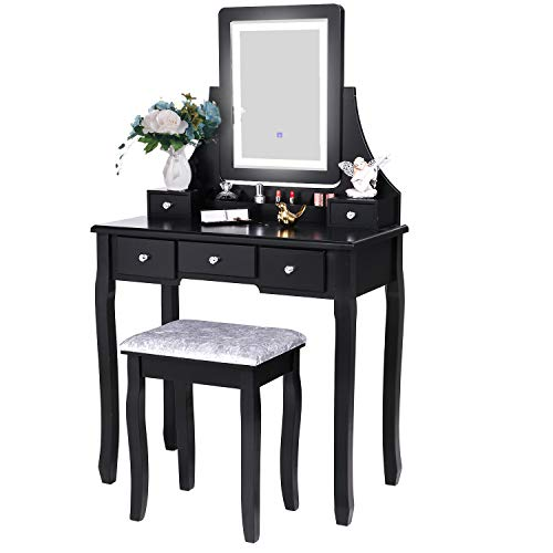 BEWISHOME Vanity Set with Lighted Mirror Dimming, Touch Screen Switch & Cushioned -
