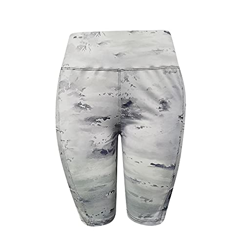 Pudyor Pantalones Cortos de Estampado con Bolsillos Laterales Pantalón de Yoga de Cintura Alta Shorts Deportivos Modas Mallas Fitness Transpirables Elásticos Leggins de Yoga para Correr Gym