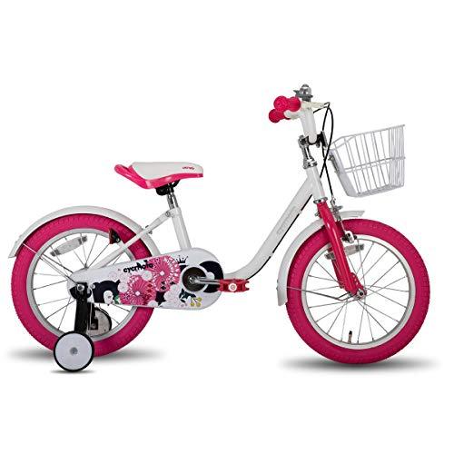 cycmoto 子供用自転車 2 3 4 5 6歳 14インチ 幼児用自転車 花と傘 ランニングバイク 誕生日プレゼント 子供のギフト バランス感覚養成 キッズバイク 贈り物 高さ調節可能 男の子 女の子 ピンク ホワイト ブルー (ホワイト, 14インチ