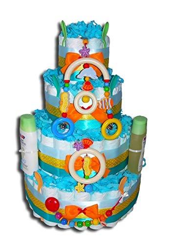 Tarta de pañales mágica para pañales – Pastel de pañales XXL – Animales marinos regalo para baby shower, bautizo o nacimiento