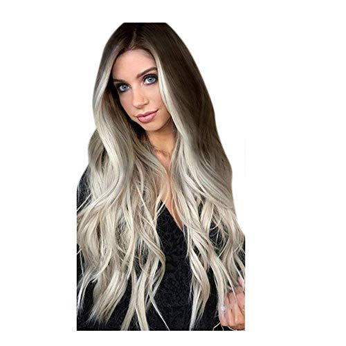 TIREOW Perruque Mode Aux Femmes Synthétique Perruque Grise Longs Ondulés Perruques Full Lace Perruques De Fête