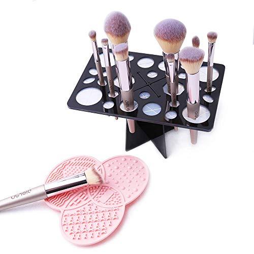 Makeup Brush Cleaning Mat & Makeup Brush Drying Rack, YLong-ST 28 Holes Makeup Brush Holder, Silicone Rubber Clover Shaped Mat Cleaner - Black & Pink