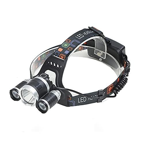 DOCAISIC 1 UNID LED Faro Recargable T6 Faro Faro 4 Modelos Ajuste de ángulo para la Caza de la Pesca para Acampar para la Pesca Nocturna (Body Color : Black, Emitting Color : White)